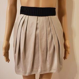 H & M Khaki Skirt with Black Waist Band